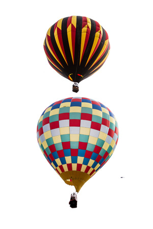 close up of two hot air balloons in mid air in Albuquerque New Mexico photo