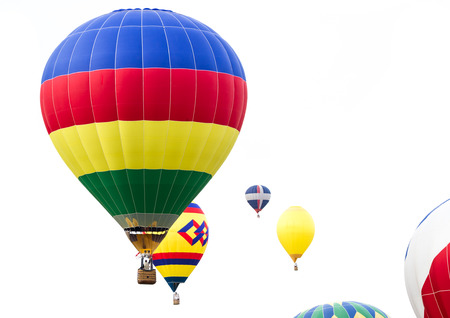 close up of multiple hot air balloons in mid air in Albuquerque New Mexico photo