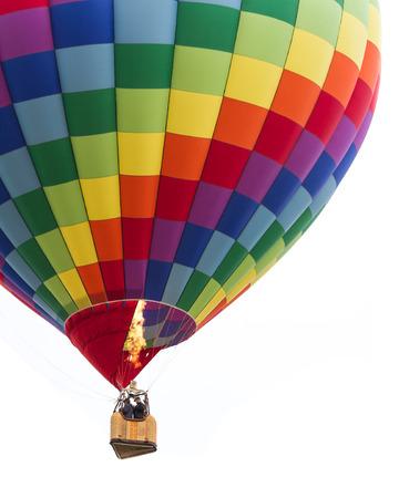 close up of a hot air ballon in mid air in Albuquerque New Mexico