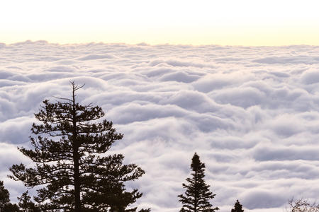beautiful peaceful view of the sunrise above the clouds on top of The Sandia mountains in New Mexico Stock Photo
