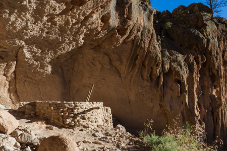 civilization: ancient ruins in Bandelier National Monument, New Mexico, remnants of an old civilization