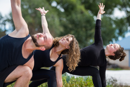 group of young people practicing in an outdoor yoga class photo