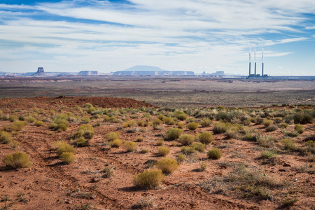 fossil fuels: coal power plant in the navajo dessert burning fossil fuels for electricity Stock Photo