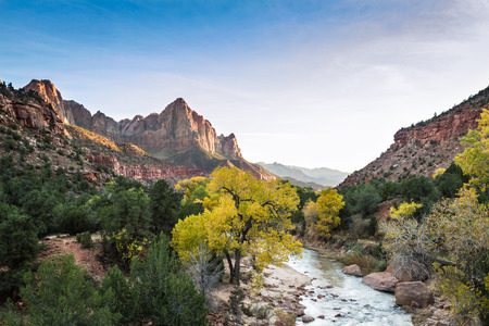 a watchman: autumn view of the watchman tower and the virgin river in Zion National Park Stock Photo