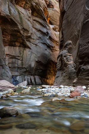 beautiful landscape of the Narrows in Zion National park with the virgin river flowing through the slot canyon
