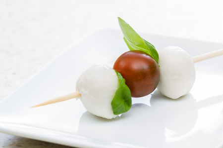 close up of a fresh mozzarella and tomato appetizer with basil on a white plate