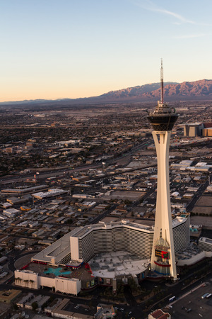 Las Vegas Nevada - December 14 : Aerial view of the famous Las Vegas north side with the Stratosphere in the frame, December 14 2014 in Las Vegas, Nevada