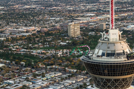 stratosphere: Las Vegas Nevada - December 14 : Aerial view of the thrilling rides on top of the Stratosphere Tower, December 14 2014 in Las Vegas, Nevada