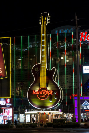 hard rock cafe: Las Vegas Nevada - December 18 : close up of the Hard Rock Cafe sign on the strip, December 18 2014 in Las Vegas, Nevada