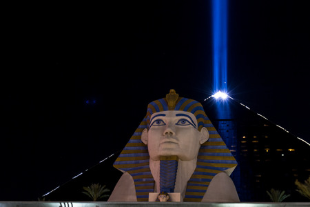 place to shine: Las Vegas Nevada - December 18 : view of the Luxor hotel and casino with the sphinx in front, December 18 2014 in Las Vegas, Nevada
