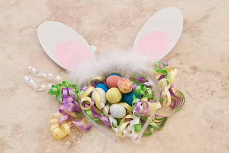 beginnings: Easter decorations close up with ears and eggs with multiple colors