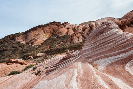 feature: the wave feature, sandstone desert landscape in Valley of Fire State Park in Nevada