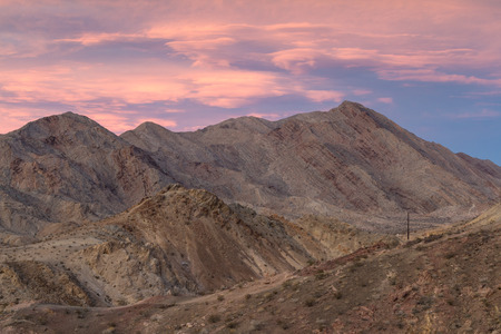 nevada: beautiful sunset over the bare rock mountains in south western Nevada