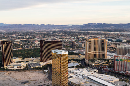 north end: Las Vegas Nevada - December 14 : Aerial view of the famous Las Vegas Strip, view from the north end, December 14 2014 in Las Vegas, Nevada