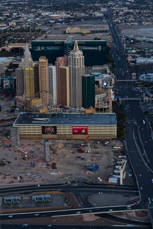 new york strip: Las Vegas Nevada - December 14 : Aerial view of New York New York in the famous Las Vegas Strip, December 14 2014 in Las Vegas, Nevada
