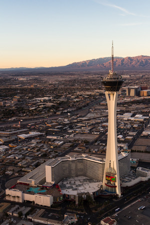 stratosphere: Las Vegas Nevada - December 14 : Aerial view of the famous Las Vegas north side with the Stratosphere in the frame, December 14 2014 in Las Vegas, Nevada