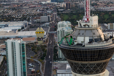 Las Vegas Nevada - December 14 : Aerial view of the thrilling rides on top of the Stratosphere Tower, December 14 2014 in Las Vegas, Nevada