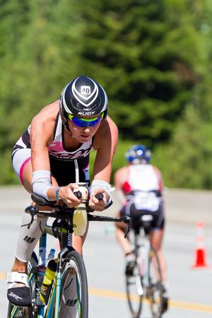 alene: COEUR D ALENE, ID -  JUNE 23: Uli Bromme, Triathlete on the bike part of the ironman triathlon, June 23 2013 in Coeur d Alene Idaho