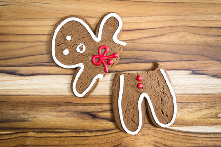 gingerbread: holiday cookie, a gingerbread man broken in half with a scared expression