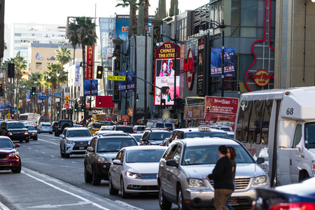 congested: Hollywood Blvd, LA, California - February 08 : Street view with traffic on Hollywood Blvd, February 08 2015 in Hollywood Blvd, LA, California. Editorial