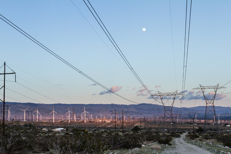 electric grid: windmills for energy in the San Gorgonio pass in Southern California