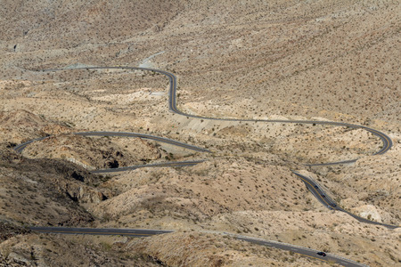 curve road: view from above of a windy road thru the desert in southern California