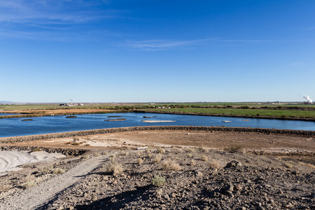 bono: The diminishing water table at the Salton Sea, View from the Sonny Bono National Wildlife Refuge in California