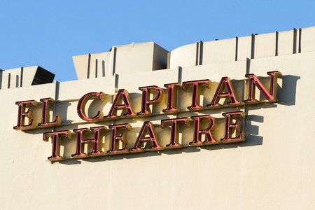 hollywood   california: Hollywood, California - February 08 : Street view of the sign for El Capitan Theater, February 08 2015 in Hollywood, California.