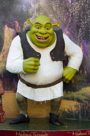 hollywood   california: Hollywood, California - February 08 : Wax figure of Shrek at the Madame Tussauds Wax Museum, February 08 2015 in Hollywood, California.