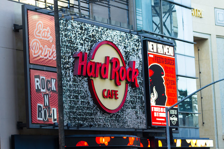 hollywood   california: Hollywood, California - February 08 : Hard Rock Cafe sign on Hollywood Blvd, February 08 2015 in Hollywood, California.