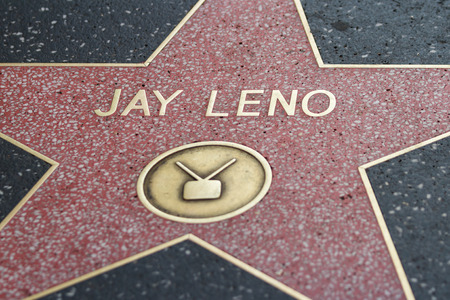 famous industries: Hollywood, California - February 08 : Jay Leno star in the Hollywood walk of fame, February 08 2015 in Hollywood, California.