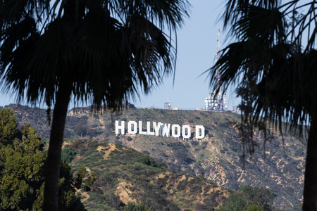 hollywood   california: Hollywood, California - February 08 :View of the Hollywood sign from the Hollywood and Highland Center, February 08 2015 in  Hollywood, California. Editorial
