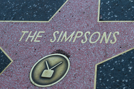 hollywood   california: Hollywood, California - February 08 : The Simpsons star in the Hollywood walk of fame, February 08 2015 in Hollywood, California.