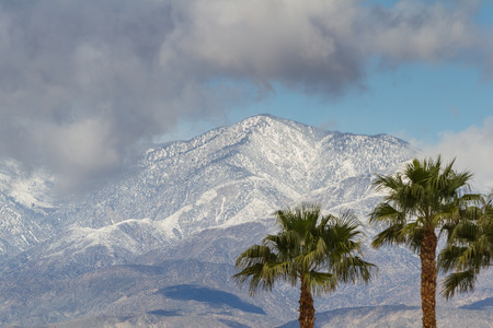 winter in California. snow on the mountains with palm trees in the valley.