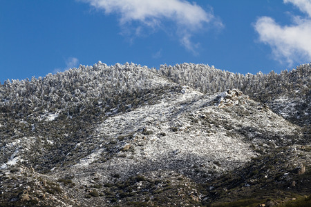 elevation: fresh snow in the high elevation mountains in Southern California