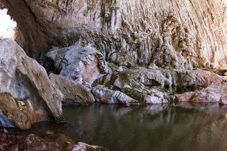 water feature: View of natural bridge in Arizona, a natural feature growing with rich mineral water Stock Photo