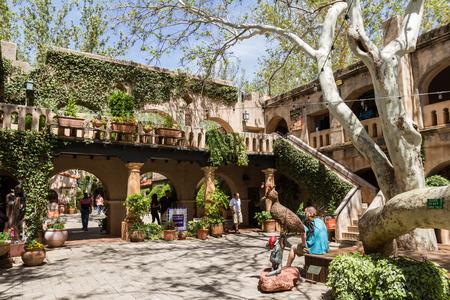 to incorporate: Sedona, Arizona - April 12 : Outdoor architecture at the Tlaquepaque Arts & Crafts Village , April 12 2015 in Sedona, Arizona.