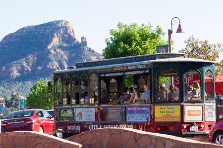 arizona scenery: Sedona, Arizona - April 13 : Sedona Trolley giving a tour of the city and scenery, April 13 2015 in Sedona, Arizona.