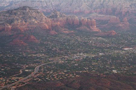 sedona: Aerial view of the red rock landscape of Sedona Arizona