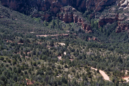 off road vehicle: distant view of a off road vehicle on a a guided tour thru the mountains of Sedona Arizona