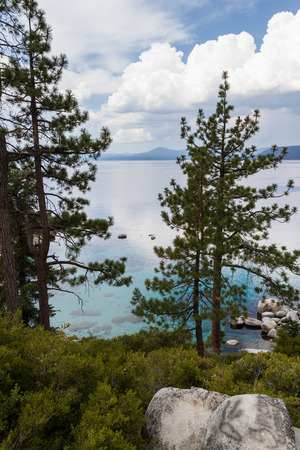 tahoe: cloudy morning view of the landscape in Lake Tahoe with evergreen trees and clear turquoise water Stock Photo