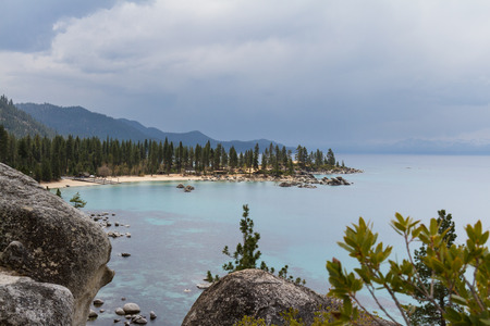sand harbor: Sand Harbor state park in Lake Tahoe, shot with stormy clouds and haze