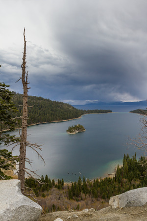 tahoe: Emerald Bay in Lake Tahoe with stormy clouds in a Spring afternoon Stock Photo