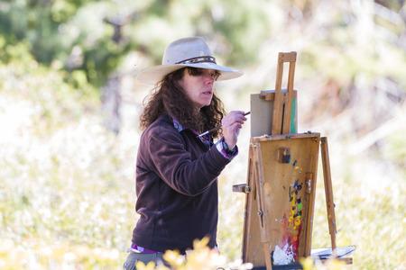 tahoe: Lake Tahoe, Nevada - April 29 : Woman artist painting on canvas a beautiful landscape, April 29 2015 Lake Tahoe, Nevada.