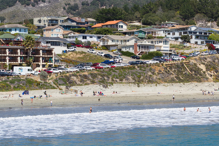 luis: San Luis Obispo, California - May 03 : Beautiful houses lining the front of the beach, view from Avila Pier - May 03 2015 San Luis Obispo, California.