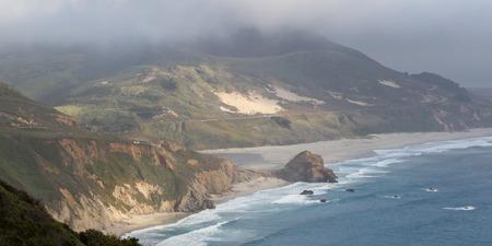 julia pfeiffer burns: Classic California Coast with a dense fog and a dramatic coastline