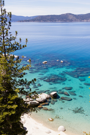 tahoe: beautiful day at Lake Tahoe, clear blue water reflecting the blue sky