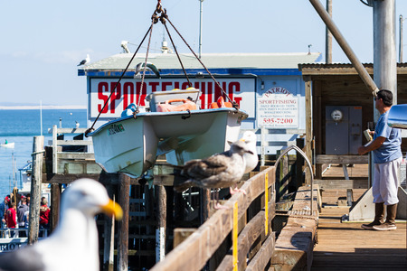 boat lift: San Luis Obispo, California - Boat lift bringing up the boat with ease, May 03 2015 San Luis Obispo, California.
