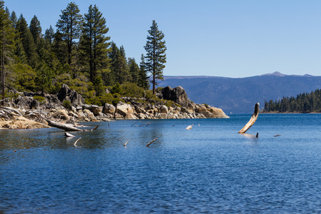 tahoe: View of Lake Tahoe with clear blue water in a relaxing scene