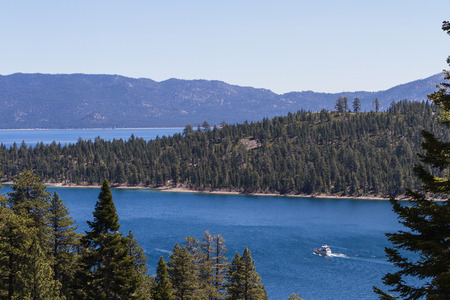 fannette: tour group in Lake Tahoe leaving Emerald Bay on a beautiful afternoon